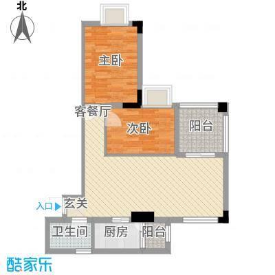 丽园雅庭77.07㎡丽园雅庭户型图B栋2-12层6单位2室2厅1卫1厨户型2室2厅1卫1厨