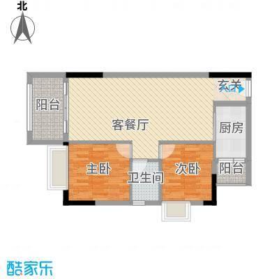 美域华庭88.20㎡美域华庭户型图2号楼1单位2室2厅1卫1厨户型2室2厅1卫1厨