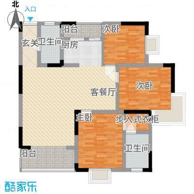 旭日长安户型图5 3室2厅2卫1厨