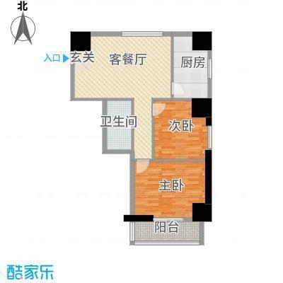 海荣名城二期101.18㎡HR3户型2室2厅1卫1厨