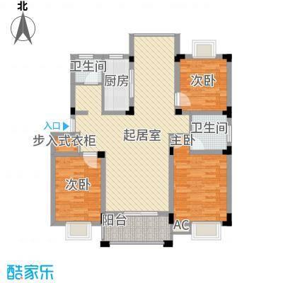 百商爱上城户型图多层洋房G户型 3室2厅2卫1厨