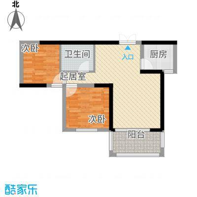 新一代北城国际82.35㎡B6户型2室2厅1卫1厨