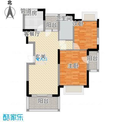 水岸名都89.00㎡水岸名都户型图H22室2厅1卫户型2室2厅1卫