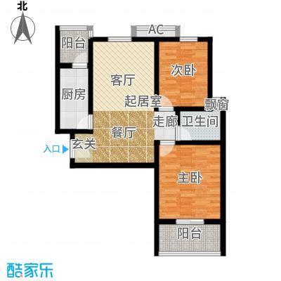 芊域阳光87.00㎡芊域阳光户型图限价商品房E户型2室2厅1卫1厨户型2室2厅1卫1厨