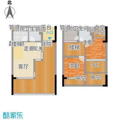金中海蓝钻114.00㎡金中海蓝钻户型图F复式2室2厅2卫户型2室2厅2卫