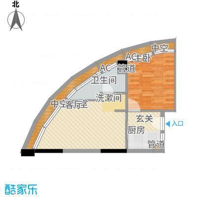 金中海蓝钻56.00㎡金中海蓝钻户型图4#D1、D21室1厅1卫户型1室1厅1卫
