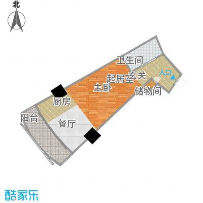 擎天半岛滨海国际公寓54.81㎡擎天半岛户型图H户型1室1卫1厨户型1室1卫1厨