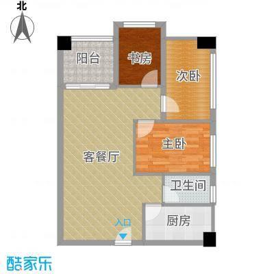 衍宏康馨花园2期82.57㎡A户型3室1厅1卫1厨