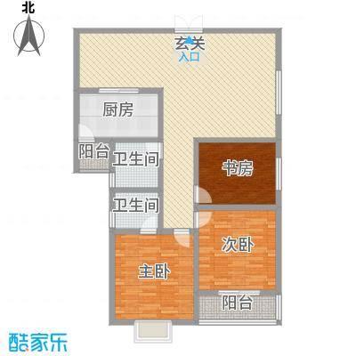华融公寓户型图25 3室2厅2卫1厨