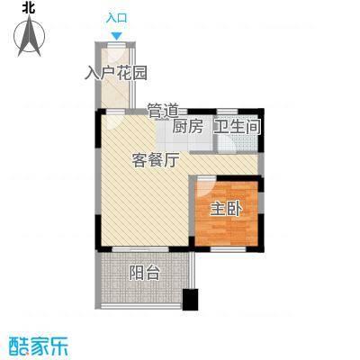 博鳌椰风海岸57.60㎡博鳌椰风海岸户型图D3栋偶数户型1室1厅1卫1厨户型1室1厅1卫1厨