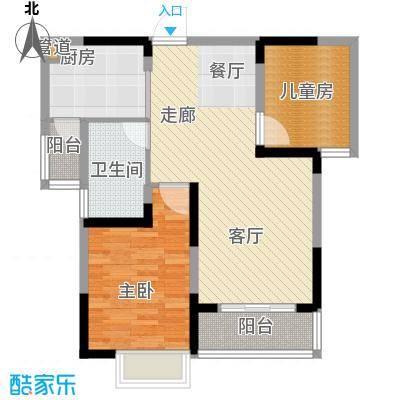 左岸美邻户型图2、3号楼4-12楼B2户型 2室2厅1卫
