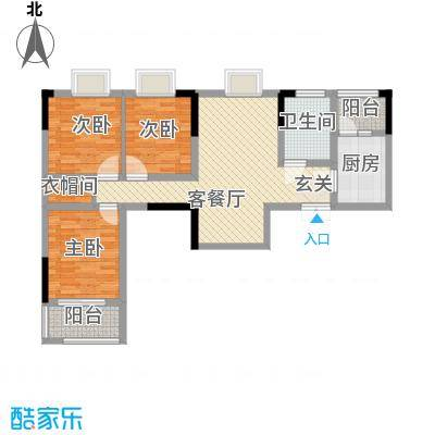 秦水名邸户型图一期45户型 3室2厅1卫