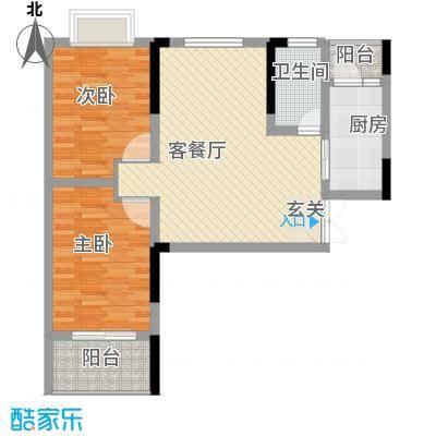 秦水名邸户型图一期314户型 2室2厅1卫