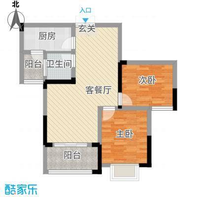 秦水名邸户型图一期42户型 2室2厅1卫