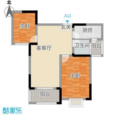 秦水名邸户型图一期41户型 2室2厅1卫
