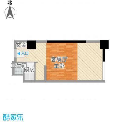 国际公寓49.24㎡国际公寓户型图双人标准间11室1卫户型1室1卫