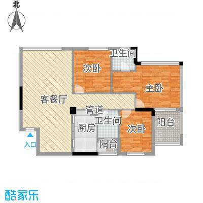 丽水康城124.62㎡丽水康城户型图A13室2厅2卫户型3室2厅2卫