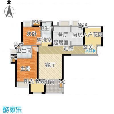 融侨锦江123.00㎡融侨锦江户型图2、3号楼2C-2户型2室2厅2卫1厨户型2室2厅2卫1厨