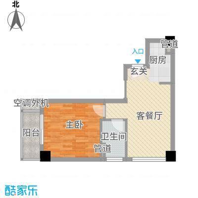 中央公寓57.79㎡中央公寓户型图B1室1厅1卫1厨户型1室1厅1卫1厨