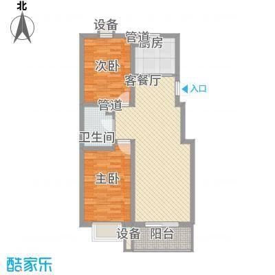 盛华公馆户型图1#楼A户型 2室2厅1卫1厨