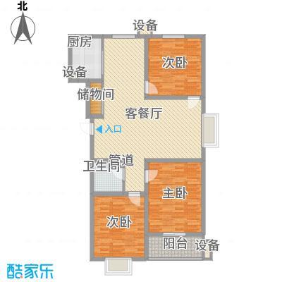 盛华公馆户型图1#楼B户型 3室2厅1卫1厨