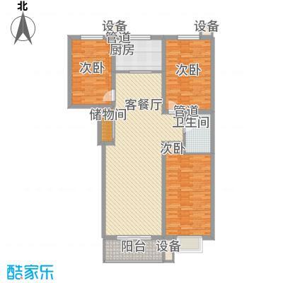 盛华公馆户型图1#楼C户型 3室2厅1卫1厨