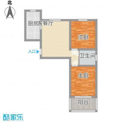 环岛豪庭户型图C户型 2室2厅1卫1厨