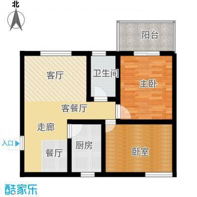 银通丽水天成户型图一期N4户型 2室2厅1卫