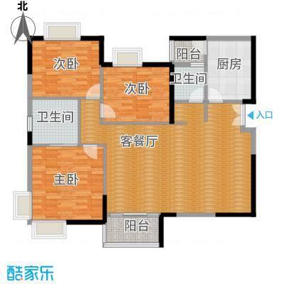 湘隆时代大公馆110.00㎡一期B-2a户型3室1厅2卫1厨