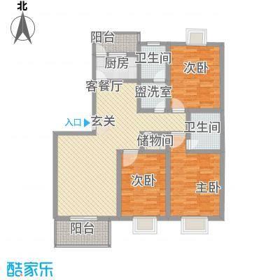 滹沱河小区澜庭125.96㎡滹沱河小区澜庭户型图d'户型(风雅涵)3室2厅2卫1厨户型3室2厅2卫1厨