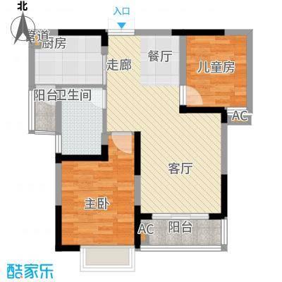 左岸美邻户型图1#楼4-12楼B1户型 2室2厅1卫