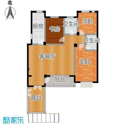 西山庭院二期花石匠132.00㎡西山庭院20号楼二层右侧户型3室1厅2卫1厨