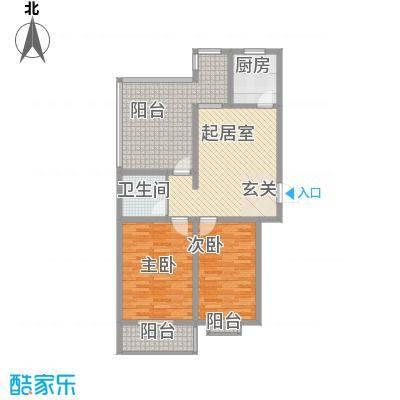 翰林雅筑户型图11号楼顶层2室2厅1卫  87.1㎡ 2室2厅1卫