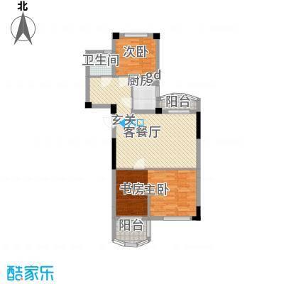航天花园三期户型图2号楼E 3室2厅1卫