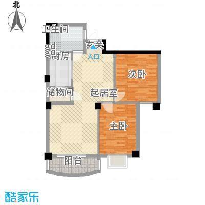 航天花园三期户型图2号楼D 2室2厅1卫