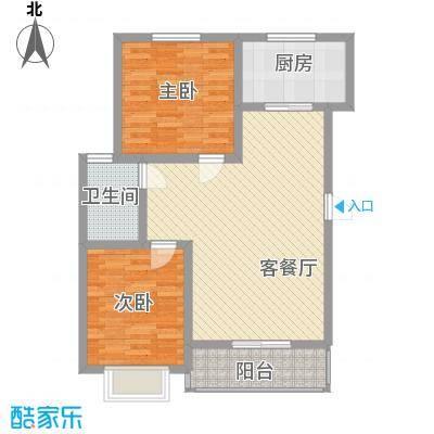 第一街区傲湖95.28㎡第一街区户型图2期C户型2室2厅1卫1厨户型2室2厅1卫1厨