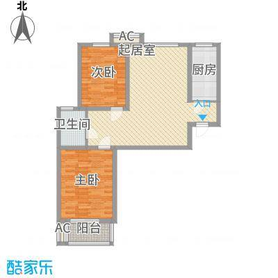 信通花园二期102.00㎡E户型2室2厅1卫