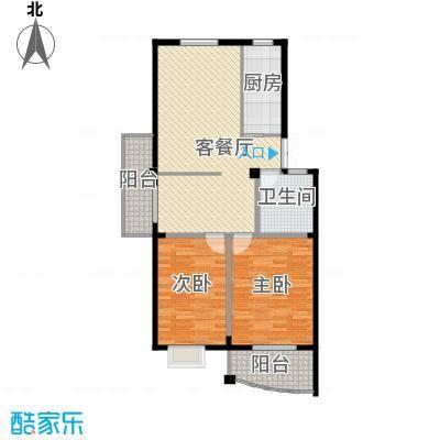 西城时代家园88.68㎡a3户型2室1厅1卫1厨