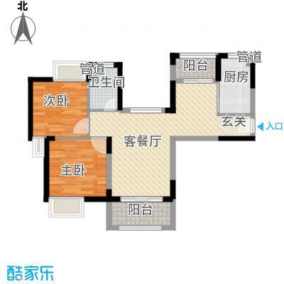 七里香苑云龙阁85.00㎡一期B1户型2室2厅1卫