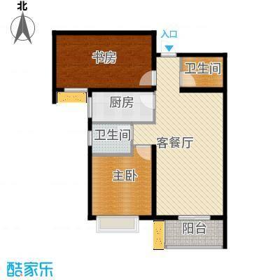 中城花溪畔93.80㎡6#E户型2室1厅2卫1厨