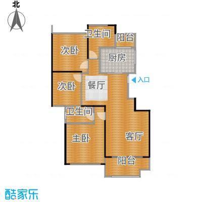 佳兆业玖珑山130.00㎡方中间套户型3室1厅2卫1厨