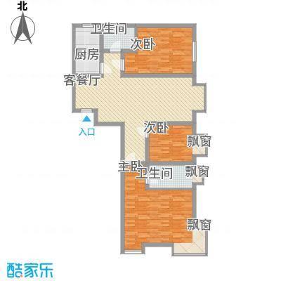 新合国际户型图小高层J户型 3室2厅2卫1厨