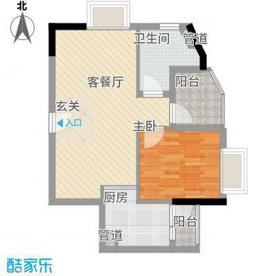 GOGO Park万荟时代户型图3栋03户型金色探戈 1室2厅1卫1厨