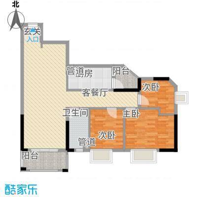 GOGO Park万荟时代户型图3栋蓝调沙龙 3室2厅1卫1厨