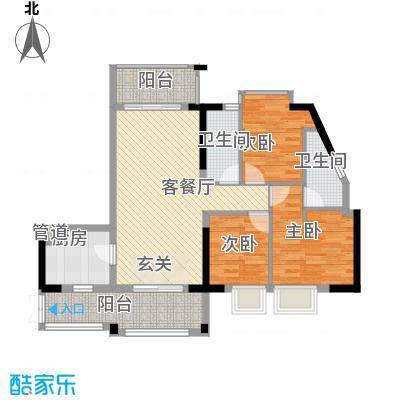 GOGO Park万荟时代户型图1-2栋03户型 3室2厅2卫1厨