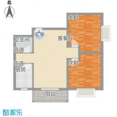 蓝岛书香苑101.15㎡两室两厅101.15平户型2室2厅1卫1厨