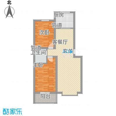 蓝岛书香苑100.20㎡两室两厅100.2平户型2室2厅2卫4厨