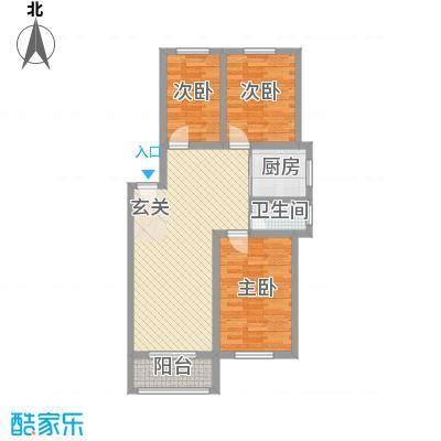良东花园99.35㎡H户型3室2厅1卫1厨