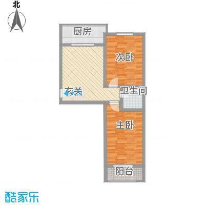 良东花园83.02㎡B户型2室2厅1卫1厨