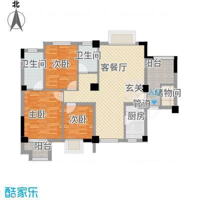 七里香苑云龙阁112.62㎡一期A户型3室2厅1卫